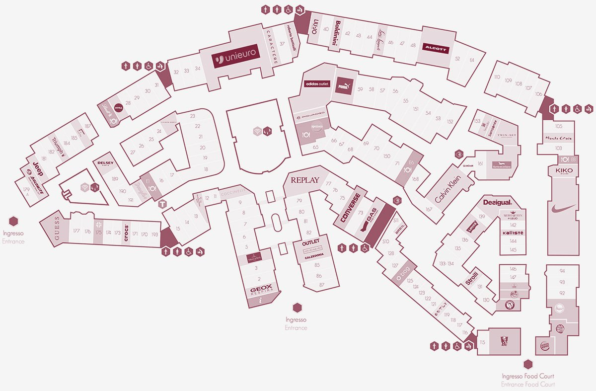 Valmontone Outlet - Mappa
